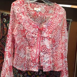 Tops - Floral button and lace up frilled blouse. EUC